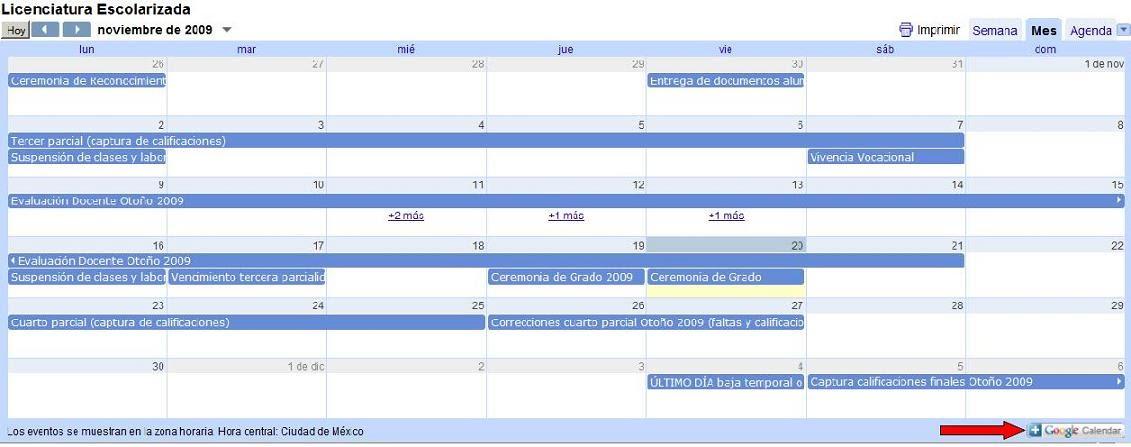 para agregar el calendario a su google calendar deber hacer click sobre el botn