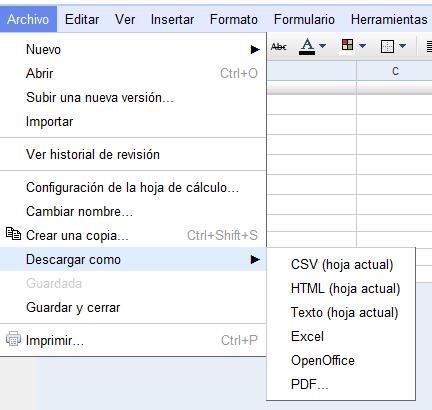 cómo exportar hojas de cálculo upaep google apps